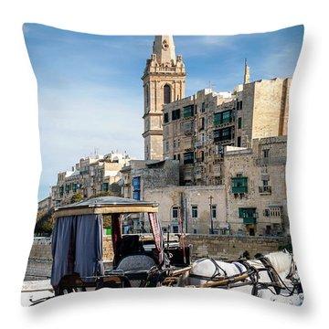 Tourist Horse Carriage In Old Town Street La Valletta Malta Throw Pillow