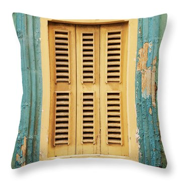Traditional House Window Architecture Detail La Valletta Old Tow Throw Pillow