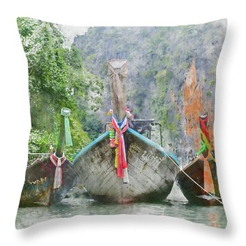 Traditional Long Boat In Thailand Throw Pillow