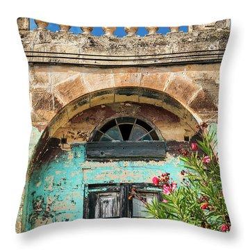 Traditional Mediterranean Maltese House Exterior Detail In Gozo  Throw Pillow
