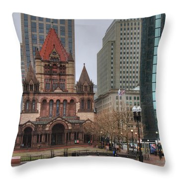 Throw Pillow featuring the photograph Trinity Church - Copley Square - Boston by Joann Vitali