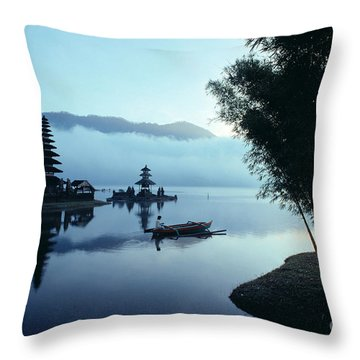 Ulu Danu Temple Throw Pillow by William Waterfall - Printscapes