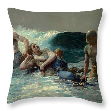 Throw Pillow featuring the painting Undertow by Winslow Homer
