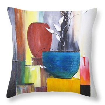 Throw Pillow featuring the painting 3 Vases by Gary Smith
