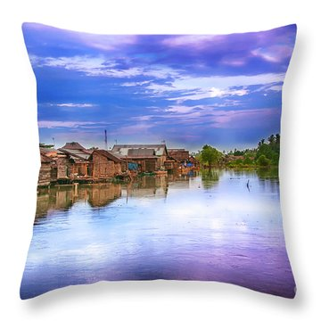 Throw Pillow featuring the photograph Village by Charuhas Images