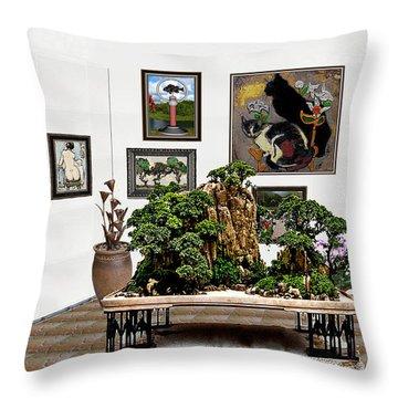 Virtual Exhibition -  Bonsai 16 Throw Pillow by Pemaro