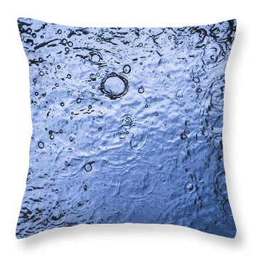 Water Abstraction - Blue Throw Pillow by Alex Potemkin