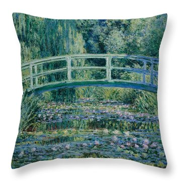 Water Lilies And Japanese Bridge Throw Pillow