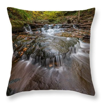 Ricketts Glen State Park Pennsylvania Cascades Throw Pillow