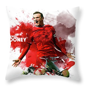 Wayne Rooney Throw Pillow by Semih Yurdabak