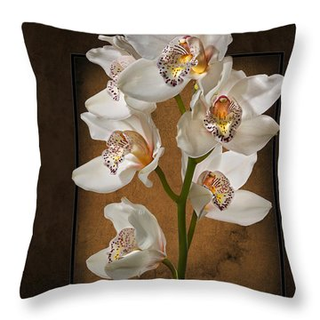 Throw Pillow featuring the photograph White Orchids by Endre Balogh