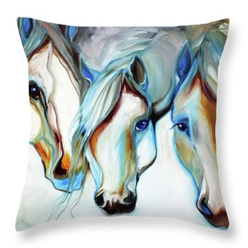3 Wild Horses In Abstract Throw Pillow