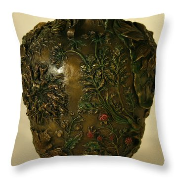 Wildflower Vase Detail Throw Pillow by Dawn Senior-Trask