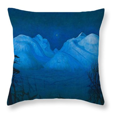 Winter Night In The Mountains Throw Pillow
