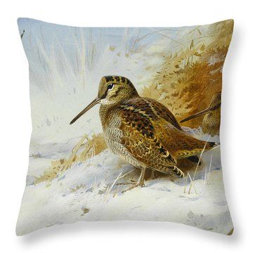 Winter Woodcock Throw Pillow by Archibald Thorburn