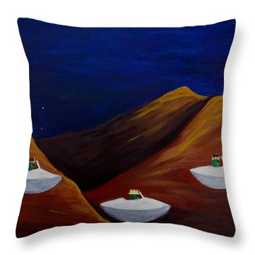 Throw Pillow featuring the painting 3 Wise Guys by Lola Connelly