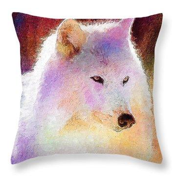 Wolf Throw Pillow by Elena Kosvincheva