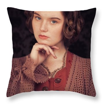 Woman In Period Costume Throw Pillow