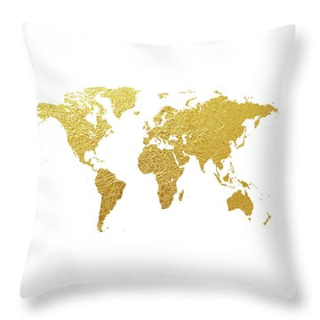 World Map Gold Foil Throw Pillow