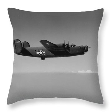 Wwii Us Aircraft In Flight Throw Pillow by American School