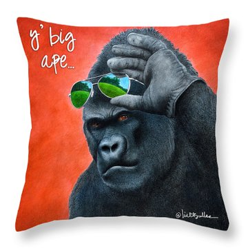 Throw Pillow featuring the painting Y' Big Ape... by Will Bullas