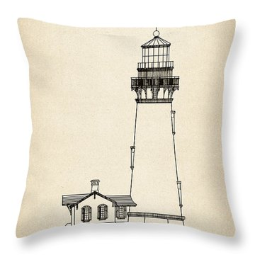Yaquina Head Lighthouse - Oregon - Blueprint Drawing Throw Pillow