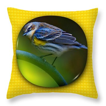 Throw Pillow featuring the photograph Yellow-rumped Warbler by Robert L Jackson
