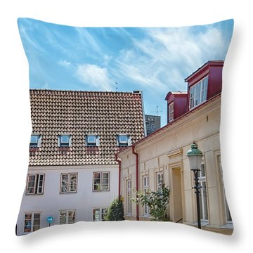 Throw Pillow featuring the photograph Ystad Street Scene by Antony McAulay