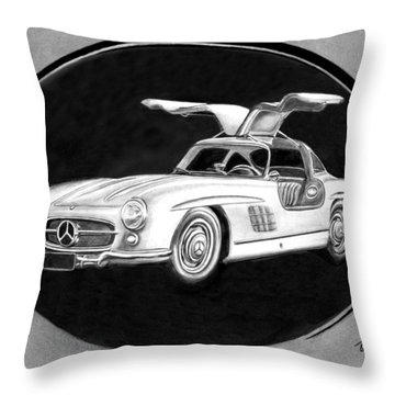300 Sl Gullwing Throw Pillow