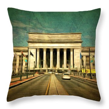 Throw Pillow featuring the mixed media 30th Street Station Traffic by Trish Tritz