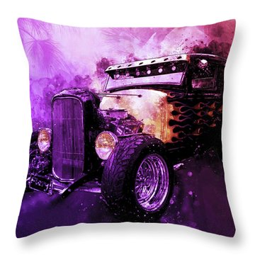 31 Ford Model A Fiery Hot Rod Classic Throw Pillow