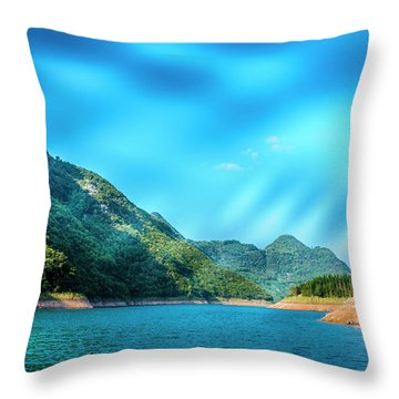 The Mountains And Reservoir Scenery With Blue Sky Throw Pillow