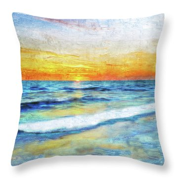 Seascape Sunrise Impressionist Digital Painting 31a Throw Pillow