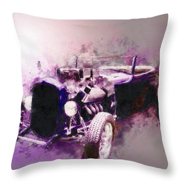 32 Ford Low Boy Roadster Watercoloured Sketch Throw Pillow