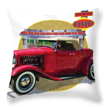 Throw Pillow featuring the drawing 32 Red Roadster by Kenneth De Tore