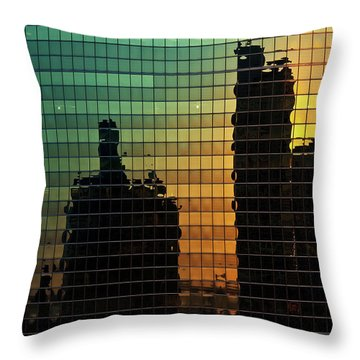 333 Wacker Reflecting Chicago Throw Pillow by Steve Gadomski