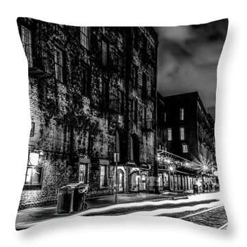 Savannah Georgia Waterfront And Street Scenes  Throw Pillow