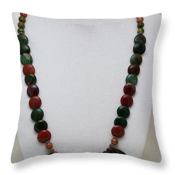 3505 Fancy Jasper And Unakite Necklace Throw Pillow by Teresa Mucha