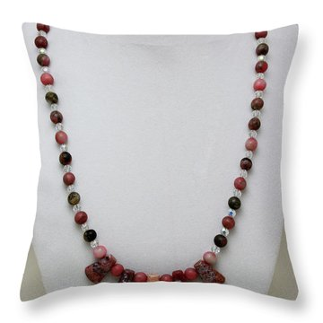 3541 Rhodonite And Jasper Necklace Throw Pillow by Teresa Mucha