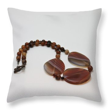 3543 Coffee Vein Agate Necklace Throw Pillow by Teresa Mucha