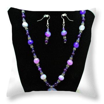 3547 Purple Veined Agate Set Throw Pillow by Teresa Mucha