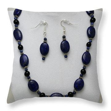 3555 Lapis Lazuli Necklace And Earring Set Throw Pillow by Teresa Mucha