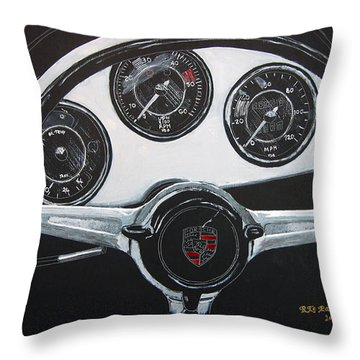 Throw Pillow featuring the painting 356 Porsche Dash by Richard Le Page