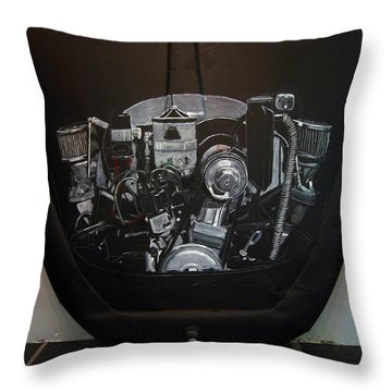 Throw Pillow featuring the painting 356 Porsche Engine On A Vw Cover by Richard Le Page