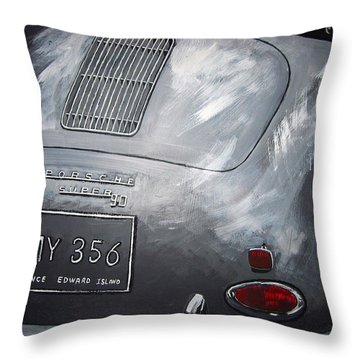 Throw Pillow featuring the painting 356 Porsche Rear by Richard Le Page