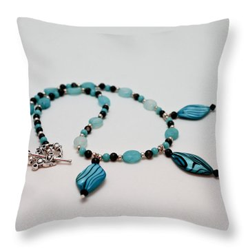 3564 Shell And Semi Precious Stone Necklace Throw Pillow by Teresa Mucha