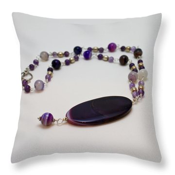 3573 Banded Agate Necklace  Throw Pillow by Teresa Mucha