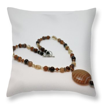 3574 Coffee Onyx Necklace Throw Pillow by Teresa Mucha