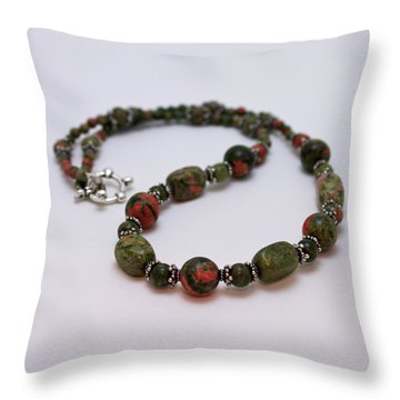 3579 Unakite Necklace  Throw Pillow by Teresa Mucha
