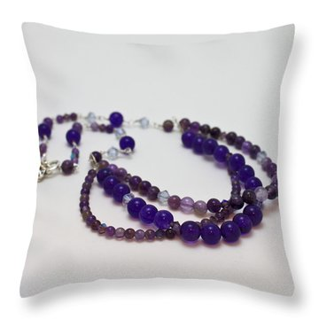 3580 Amethyst And Adventurine Necklace Throw Pillow by Teresa Mucha